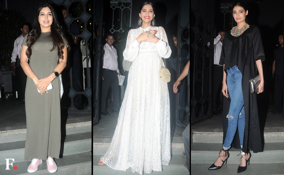 Bollywood's best and brightest were spotted at a party hosted by Sanjay Leela Bhansali on Monday night to celebrate his Best Director win for Bajirao Mastani at the 63rd National Film Awards. The fashionista brigade was represented by Bhumi Pednekar, Sonam Kapoor and Athiya Shetty. Image by Sachin Gokhale/Firstpost
