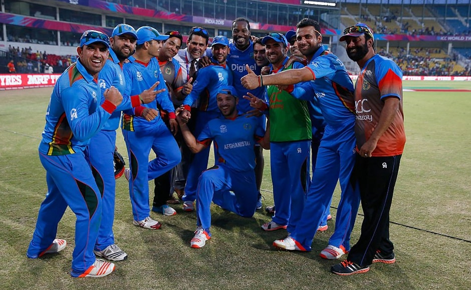 Chris Gayle posed with the victorious Afghanistan team after the Associates made history beating table toppers West Indies. Gayle's gesture was appreciated across social media. Image Credit: Twitter @ICC