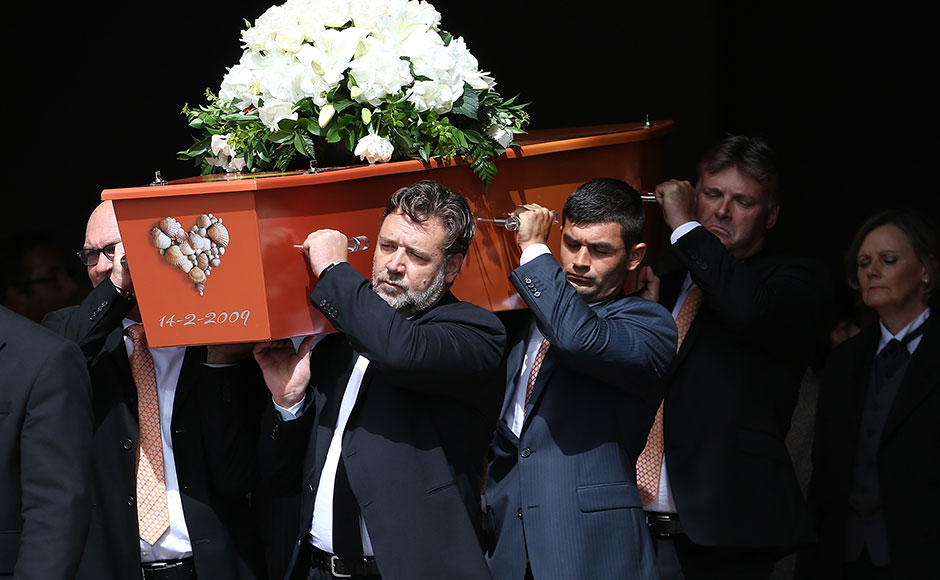 New Zealand legend Martin Crowe was laid to rest in an emotional funeral on Friday. His brother and former Kiwi cricketer Jeff Crowe and his cousin, Hollywood star Russell Crowe, were among the pallbearers. Getty Images