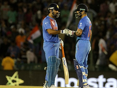 Mahendra Singh Dhoni and Virat Kohli during the partnership that took the match away from Australia. Solaris Images