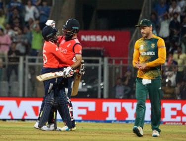 England players celebrate their stunning win over South Africa at the Wankhede on Friday. Solaris Images
