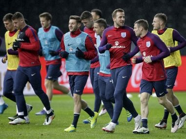 Harry Kane and his England teammates during a training session in Germany. AP