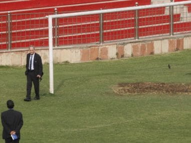 FIFA officials during an inspection at the Ambedkar Stadium. Getty Images
