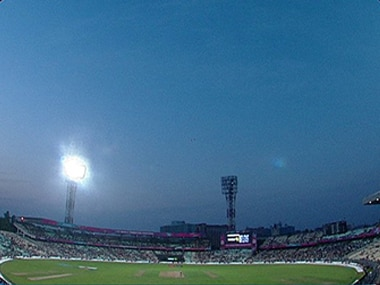Flood light failure at Eden Gardens. Image: ICC