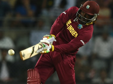 Chris Gayle during his 48-ball century against England at Wankhede in Mumbai on Wednesday. AFP
