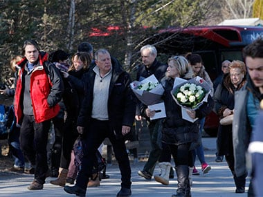 Families of victims arrive at a ceremony marking one year after the Germanwings Airbus A320 crash on Thursday. AP