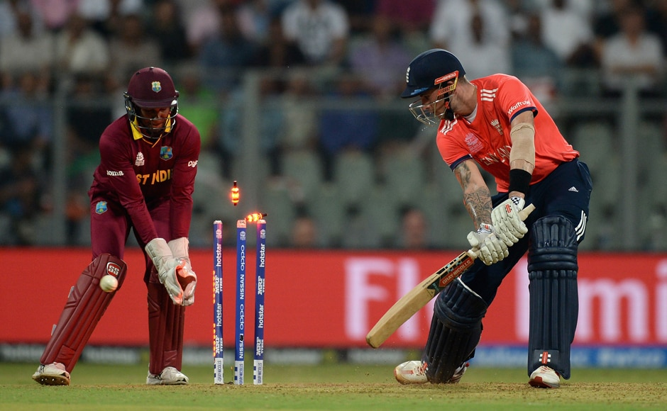 Alex Hales (right) is clean bowled by Sulieman Benn. Getty Images