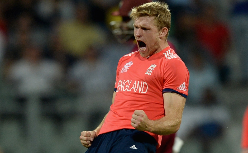 David Willey (above) celebrates after dismissing Johnson Charles for a duck. Getty Images