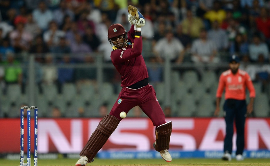 Marlon Samuels executes a shot during his innings of 37 off 27 deliveries. Getty Images