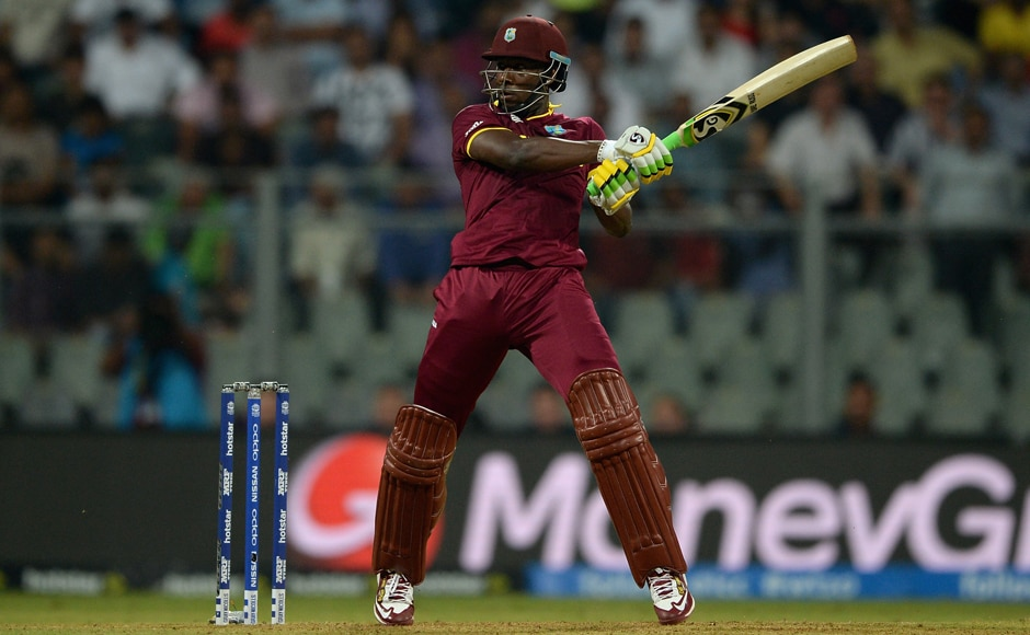 Andre Russell plays a shot during his innings of 16 off as many deliveries. Getty Images