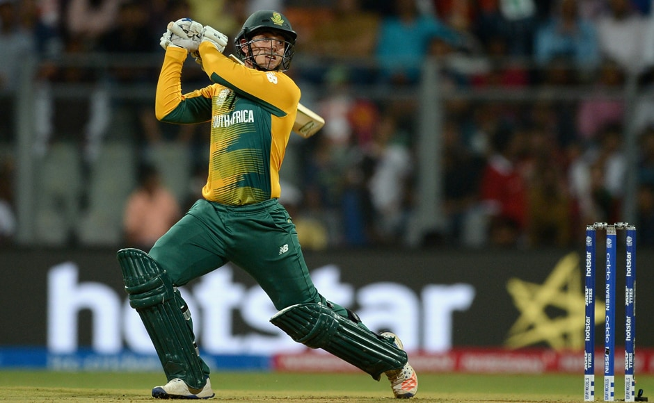 Quinton de Kock of South Africa hits out for six runs during the ICC World Twenty20 match between South Africa and England at Wankhede Stadium. The young South African wicket-keeper's blistering innings powered South Africa to 229. Getty Images