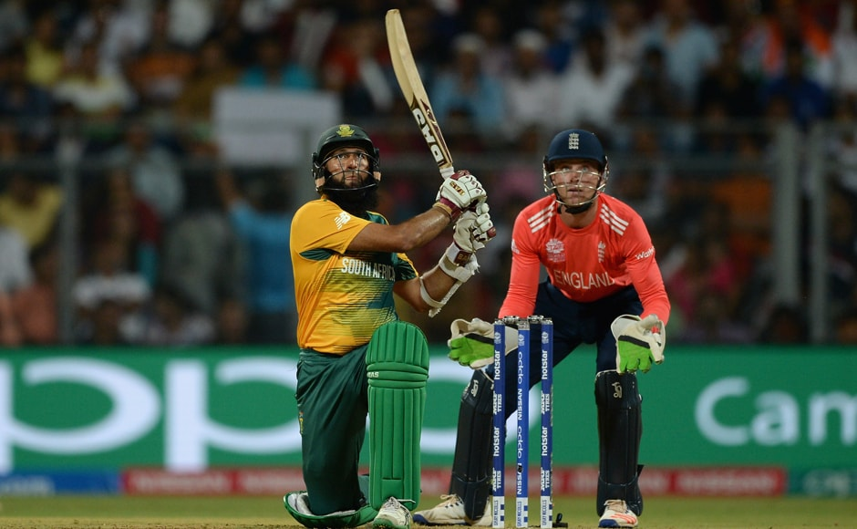 Hashim Amla of South Africa hits a six. Amla and de Kock's onslaught propelled Proteas to 83 runs in the powerplay. Getty Images