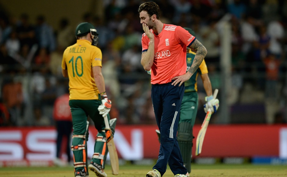 Reece Topley of England reacts after bowling. It wasn't a good day out for any bowler. Getty Images