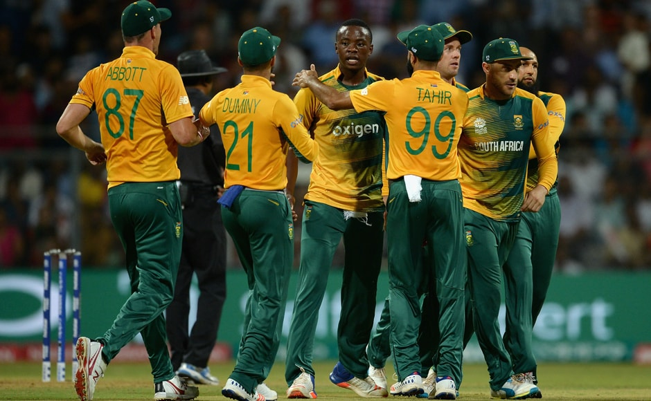 Kagiso Rabada of South Africa celebrates with teammates after dismissing Ben Stokes. Getty Images