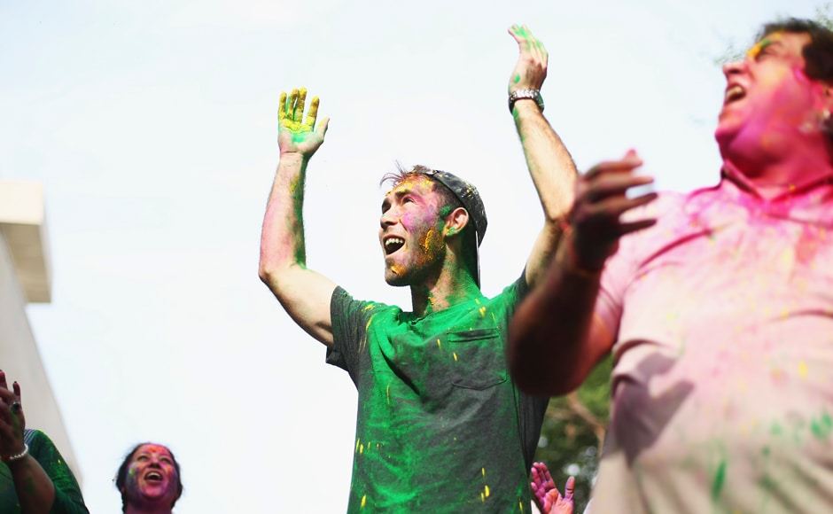 Glenn Maxwell celebrates Holi Festival of Colours with Chandigargh locals ahead of the ICC WT20 match between Australia and Pakistan on March 24, 2016 in Chandigarh, India. Getty Images