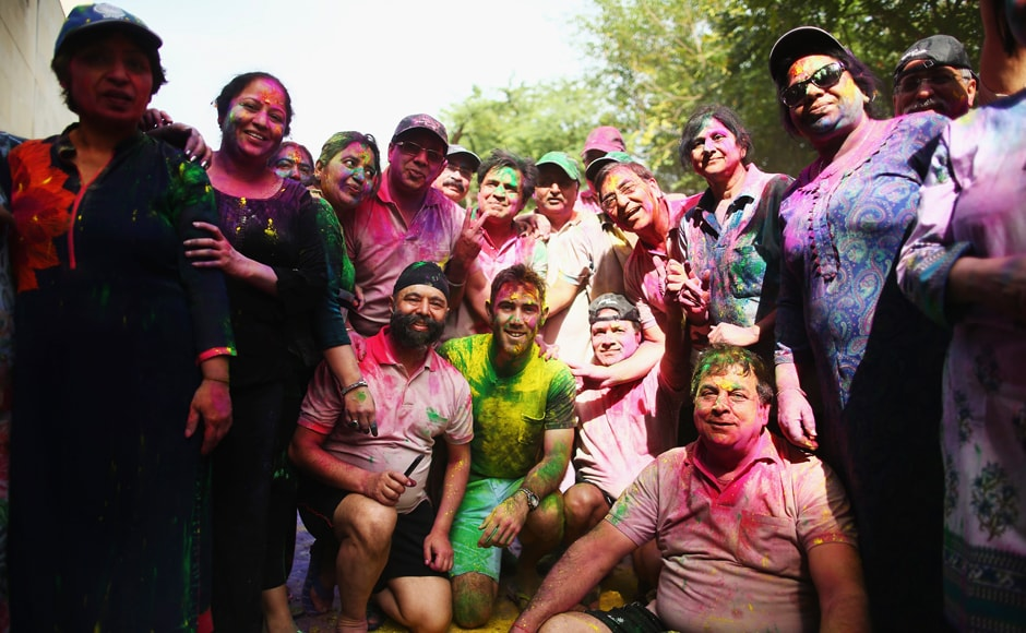 Maxwell also posed with his fans and Holi enthusiasts after celebrating the festival of colours. Getty