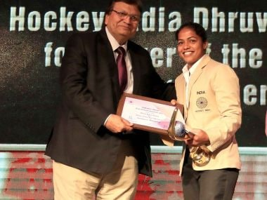 Indian hockey player Deepika receives the Dhruv Batra Player of the Year trophy. Image courtesy - Facebook