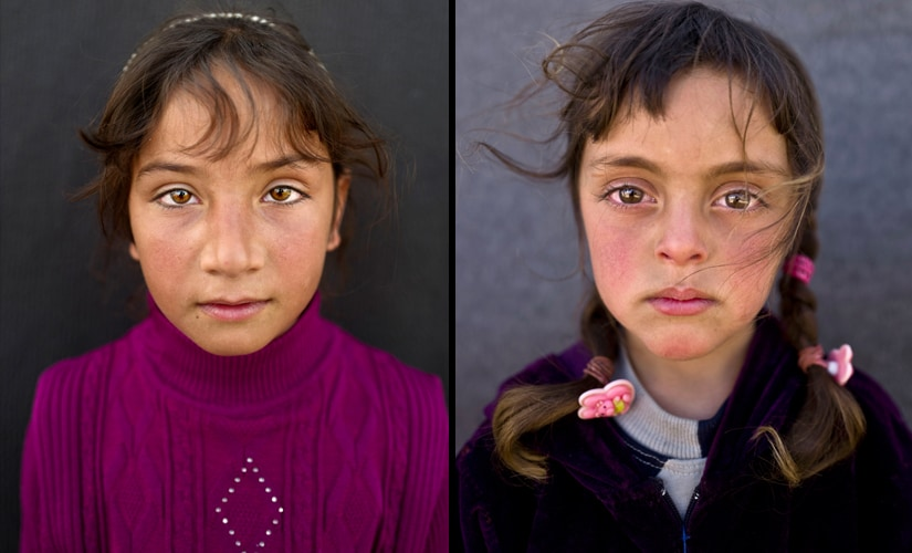 "(L) Zahra Mahmoud, 5, from Deir el-Zour, Syria, poses for a picture at an informal tented settlement near the Syrian border on the outskirts of Mafraq, Jordan. (R) Mariam Aloush, 8, from Homs, Syria, says, ""I remember our home in Syria and my school there. I just want to go back"". Image from AP Photo/Muhammed Muheisen"