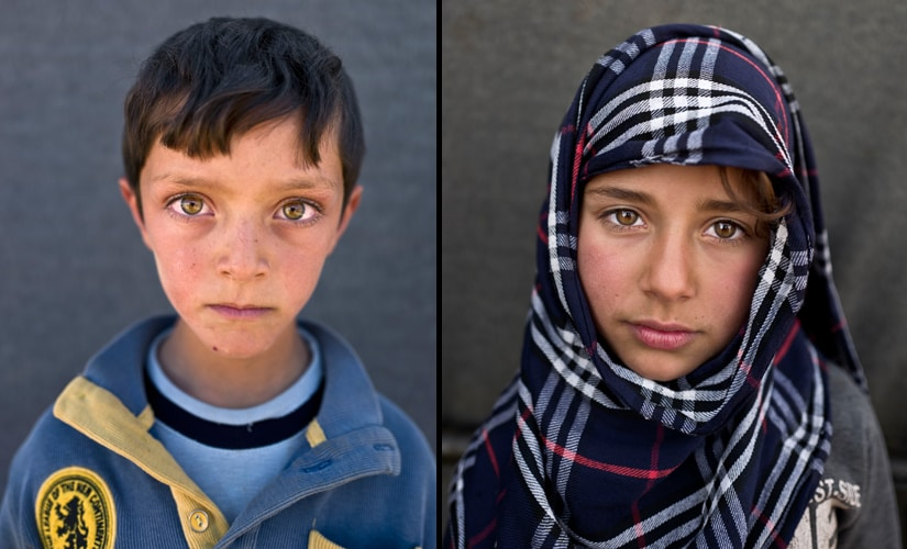 (L) Hiba So'od, 6, from Hassakeh, wants to become a teacher. (R) Ahmad Zughayar, 6, from Deir el-Zour, remembers the sound of homes being bombed in his town. Image from AP Photo/Muhammed Muheisen