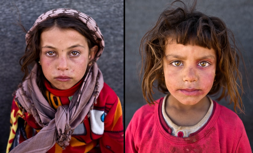 "(L) Mona Emad, 5, from Hassakeh, says, ""I want to go back to Syria but my father told us that he wants to go to The United States of America."" (R) Hanan Khalid, 7 Image from AP Photo/Muhammed Muheisen"