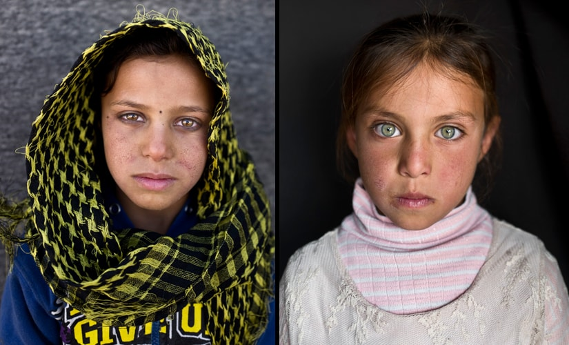 "(L) Aya Bandar, 6, from Hama (R) Mayada Hammid, 8, from Hassakeh, says, ""I remember nothing from Syria."" Image from AP Photo/Muhammed Muheisen"