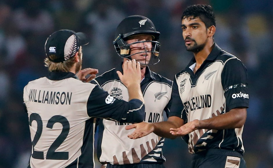India-born spinner Ish Sodhi (right) took three wickets for 18 runs, including the all-important dismissal of Virat Kohli. AP