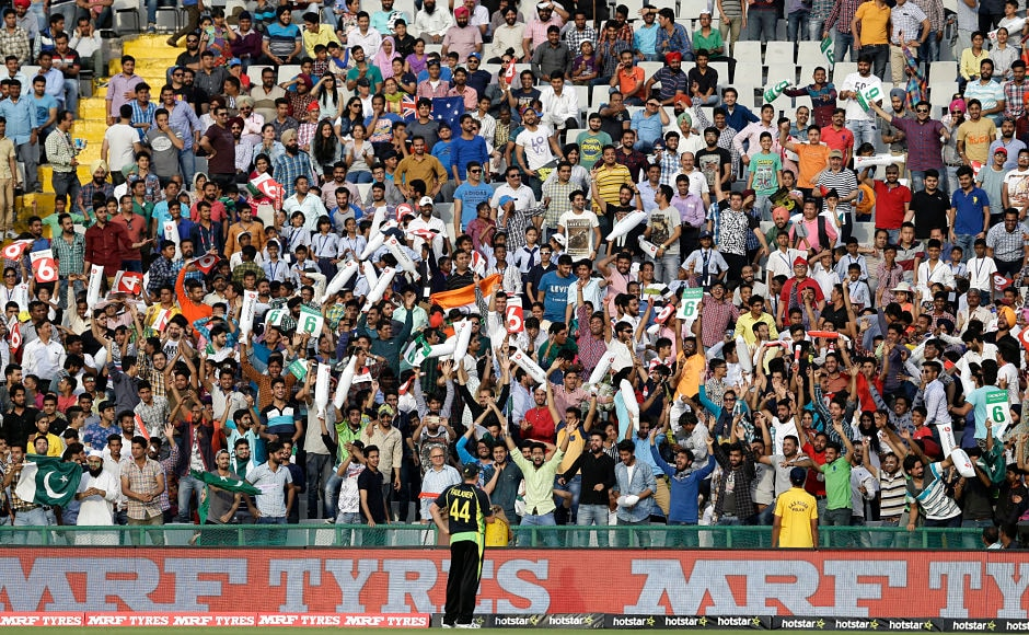 Australia's James Faulker trying to make friends with some fans in Mohali before they take on India. Not a bad ploy. AP