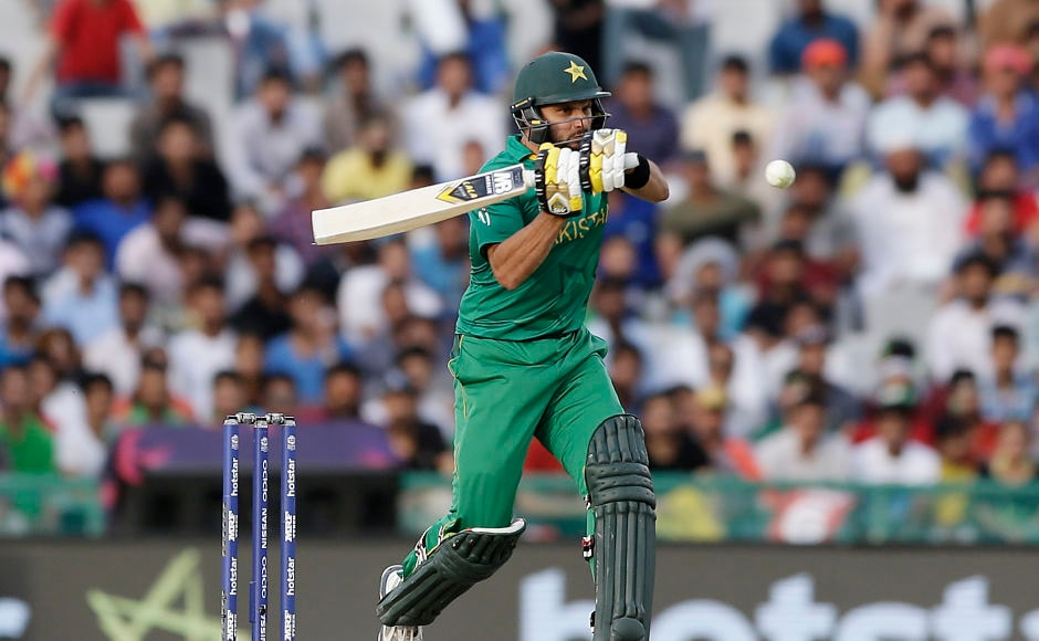 Fending off one of many bouncers thrown at Shahid Afridi recently, this one though is on-field in World T20 clash against Australia. AP
