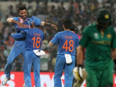 Indian players celebrates the wicket of Pakistan captain Shahid Afridi during the ICC Twenty20 World Cup match played between Indian and Pakistan at the Eden Garden Stadium in Kolkata, India on March 19, 2016. (Vipin Pawar/SOLARIS IMAGES)
