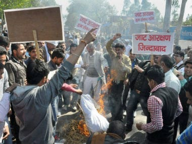 """Haryana police was criticised for its """"failure"""" to prevent and control violence during the Jat agitation last month, in which 30 people lost their lives. PTI"""