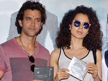 Hrithik Roshan and Kangana Ranaut at an event for Krrish 3. Image from IBNlive