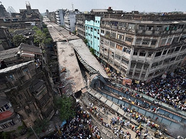 A file photo of the Vivekanand bridge collapse. PTI