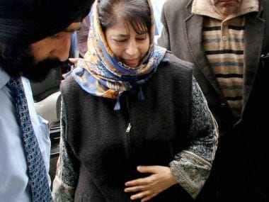 PDP president Mehbooba Mufti arrives for a meeting at a guest house in Jammu on Friday. PTI