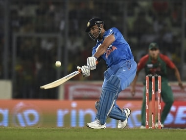 MS Dhoni in action at the Asia Cup final. AFP