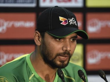 Bangladesh cricket captain Mashrafe Mortaza speaks during a press conference. AFP
