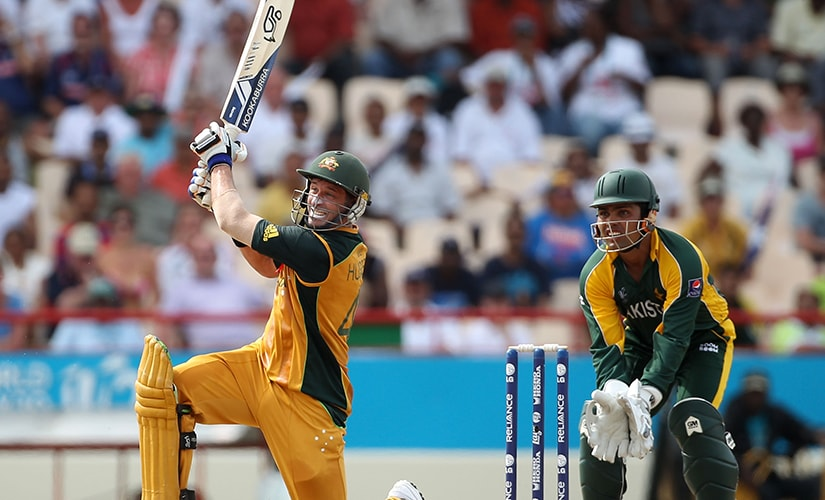 Michael Hussey smashes the winning six as Australia pull off a miraculous three-wicket win over Pakistan in the semi-final. Getty Images