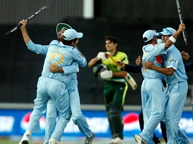 India's players celebrate their victory as Pakistan's Misbah-ul-Haq walks off after the 2007 T20 World Cup final. Reuters