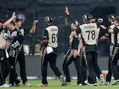 New Zealand team celebrate after a crushing win. AP