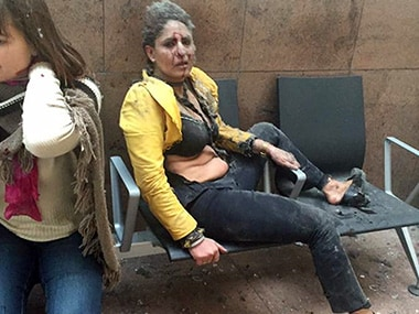 Nidhi Chaphekar, after being wounded in Brussels Airport in Brussels, Belgium. Ketevan Kardava/ Georgian Public Broadcaster via AP