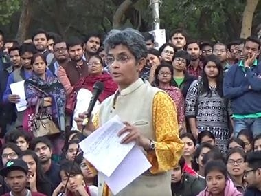 Screen grab of Nivedita Menon giving lecture. Courtsey: YouTube