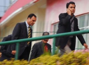 Pakistani Officials at Dharamsala. AFP