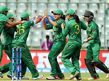 Pakistan women's team celebrates after the fall of an Indian wicket at the Kotla on Saturday. PTI