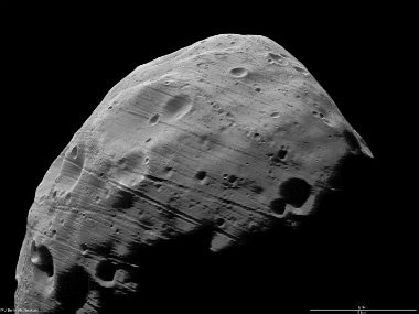 A surface of Phobos as released in a high-resolution image by ESA/NASA. Getty Images