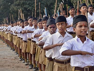 File image of RSS cadres. PTI