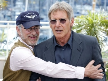 Steven Spielberg with Harrison Ford. Reuters