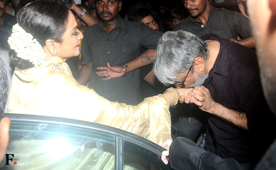 But the cynosure of all eyes was the radiant Rekha. She shared an affectionate moment with Bhansali, who fawned over the Kanjivaram-clad actress. Image by Sachin Gokhale/Firstpost