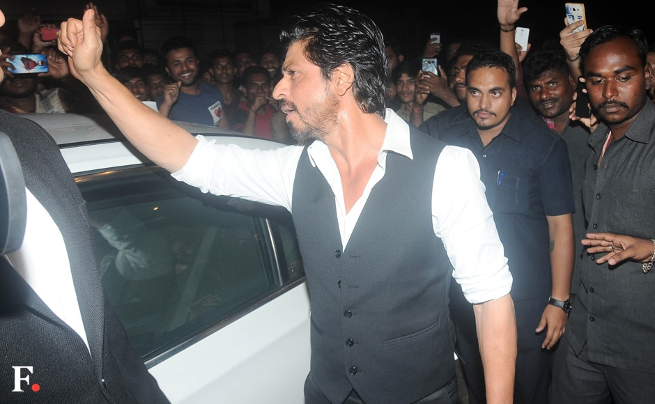 Bhansali's leading man from Devdas, Shah Rukh Khan, was the special guest at the party. SRK sent the crowds into a tizzy when he emerged from his car, obliging fans with photo-ops. Image by Sachin Gokhale/Firstpost