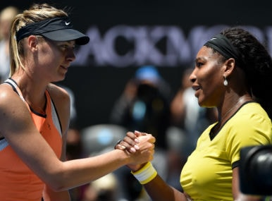 File photo of Maria Sharapova and Serena Williams. AFP