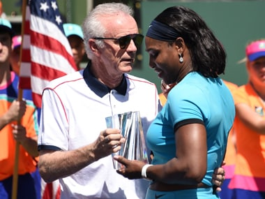 Serena Williams seen here with Raymond Moore. AFP