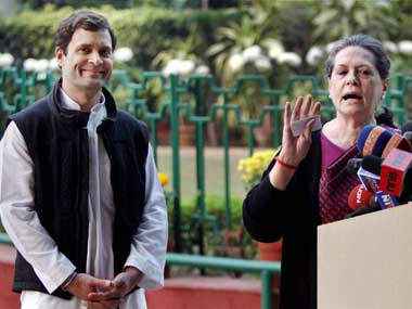 Congress president Sonia Gandhi with party vice-president Rahul Gandhi. PTI